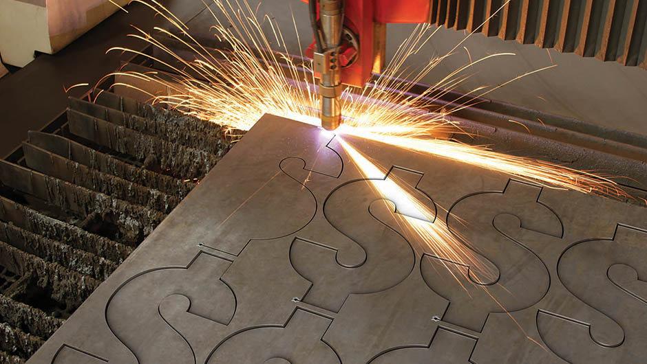 Laser cutting dollar signs