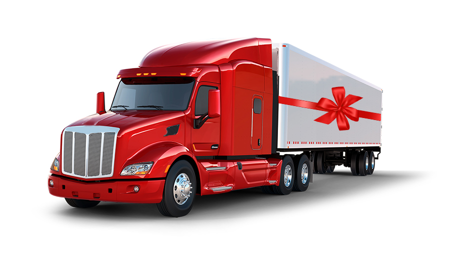 semi truck with holiday bow
